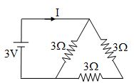 current I in given circuit is