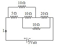 value of current I drawn in circuit